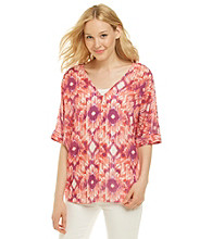 Nine West Jeans® Ariana V-Neck Ikat Print Blouse