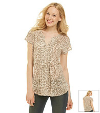 Lucky Brand® Splitneck Pleated Cheetah Print Tee