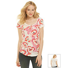 Lucky Brand® Henley Scoopneck Floral Print Tee