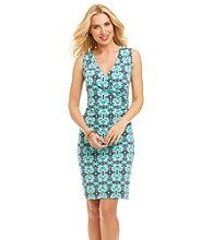 Jones New York Signature® Patterned Faux Wrap Dress
