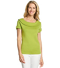 Rafaella® Marilyn With Button Tabs Knit Top