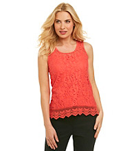Cable & Gauge Crochet Trim Lace Tank