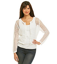 Eight Eight Eight® White Crochet Button Cardigan