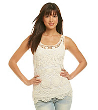 Fever® Ivory Crochet Flower Tank