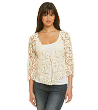 Fever® Ivory Crochet Shrug With Tie