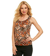 Anne Klein® Abstract Print Pleated Blouse