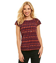 Anne Klein® Tribal Print Flutter Top