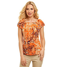 Anne Klein® Abstract Print Flutter Top