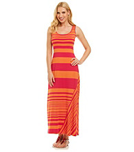 Calvin Klein Bias Striped Hem Maxi Dress