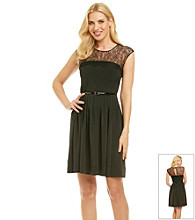 Calvin Klein Illusion Lace Belted Full Skirt Dress