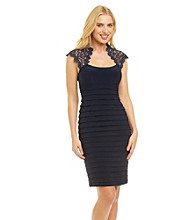 Xscape Banded Lace Cocktail Dress