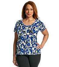 Laura Ashley® Plus Size Studded Animal Print Tee