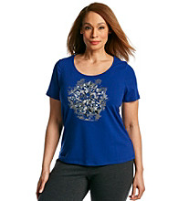Laura Ashley® Plus Size Embellished Fragment Print Tee