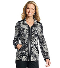 Laura Ashley® Satin Trim Printed Knit Jacket