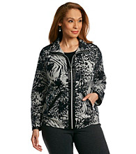 Laura Ashley® Plus Size Satin Trim Printed Knit Jacket