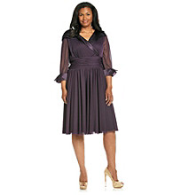 Jessica Howard® Plus Size Surplice Portrait Collar Dress