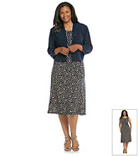Jessica Howard® Plus Size Dot Print Dress and Jacket