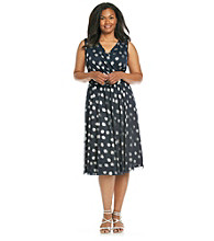 Jessica Howard® Plus Size Mesh Dot Surplice Dress