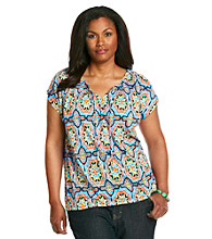 Jones New York Sport® Plus Size Extended Shoulder With Drawstring Top