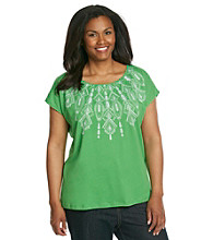 Jones New York Sport® Plus Size Embroidered Scoopneck Top