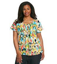 Jones New York Sport® Plus Size Pintuck Printed Top