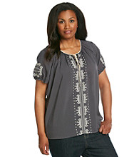 Oneworld® Plus Size Embroidery Peasant Top With Drawstring Scoopneck