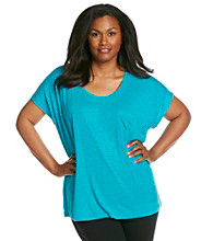 Oneworld Plus Size Studded Sparkle Scoopneck Tee