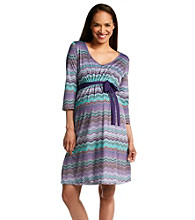 Three Seasons Maternity™ V-Neck Geometric Print Dress