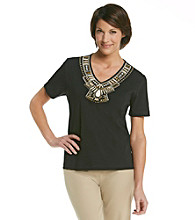 Alfred Dunner® Petites' Tribal Fusion Embellished Yoke Top