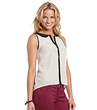 Kensie® Contrast Trim Dot Printed Blouse