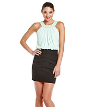 Bee Darlin' Juniors' Mint Blouson Tiered Skirt Dress