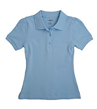 French Toast® Girls' 4-16 Blue Short Sleeve Stretch Pique Polo
