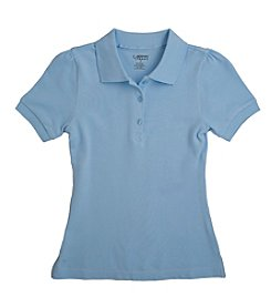 French Toast® Girls' 4-20.5 Plus Blue Short Sleeve Stretch Pique Polo