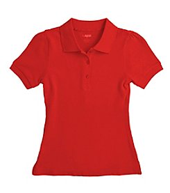 French Toast® Girls' 7-16 Plus Red Short Sleeve Stretch Pique Polo
