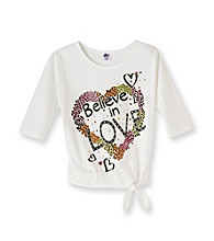 Miss Attitude Girls' 7-16 Classic White Dolman Sleeve Love Graphic Top