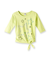 Miss Attitude Girls' 7-16 Lime Hint Dolman Sleeve Star Graphic Top