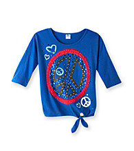 Miss Attitude Girls' 7-16 Sapphire Blue Dolman Peace And Love Graphic Top