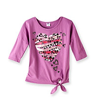 Miss Attitude Girls' 7-16 Plum Blossom Dolman Sleeve Heart Graphic Top
