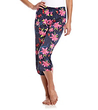 Sleep Riot™ Knit Capri - Navy Blue Floral