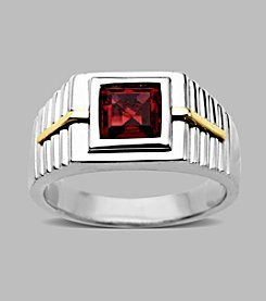 Created Ruby Men's Ring in Sterling Silver/14K Gold