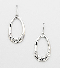 Erica Lyons® Silvertone Drop Hoop Pierced Earrings