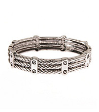 L&J Accessories Silver Rope Textured Bangle