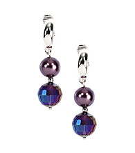 Napier® Silvertone and Purple Beaded Linear Clip Drop Earrings
