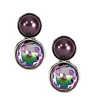 Napier® Silvertone and Purple Button Stud Earrings