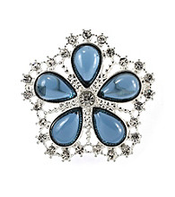 Napier® Boxed Silvertone and Blue Floral Motif Pin