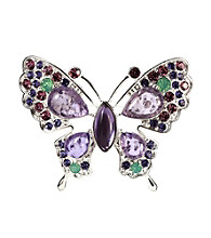 Napier® Boxed Silvertone and Purple Butterfly Pin