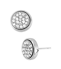 Kenneth Cole® Silvertone Pave Round Stud Earrings