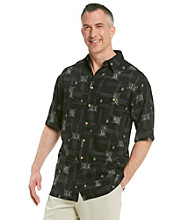 Paradise Collection® Men's Midnight Black Sailboat Short Sleeve Woven Shirt