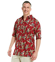 Paradise Collection® Men's Lobster Tail Red Short Sleeve Pineapple Woven Shirt