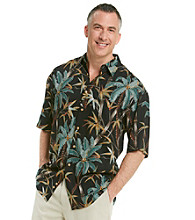 Paradise Collection® Men's Midnight Black Short Sleeve Palm Tree Woven